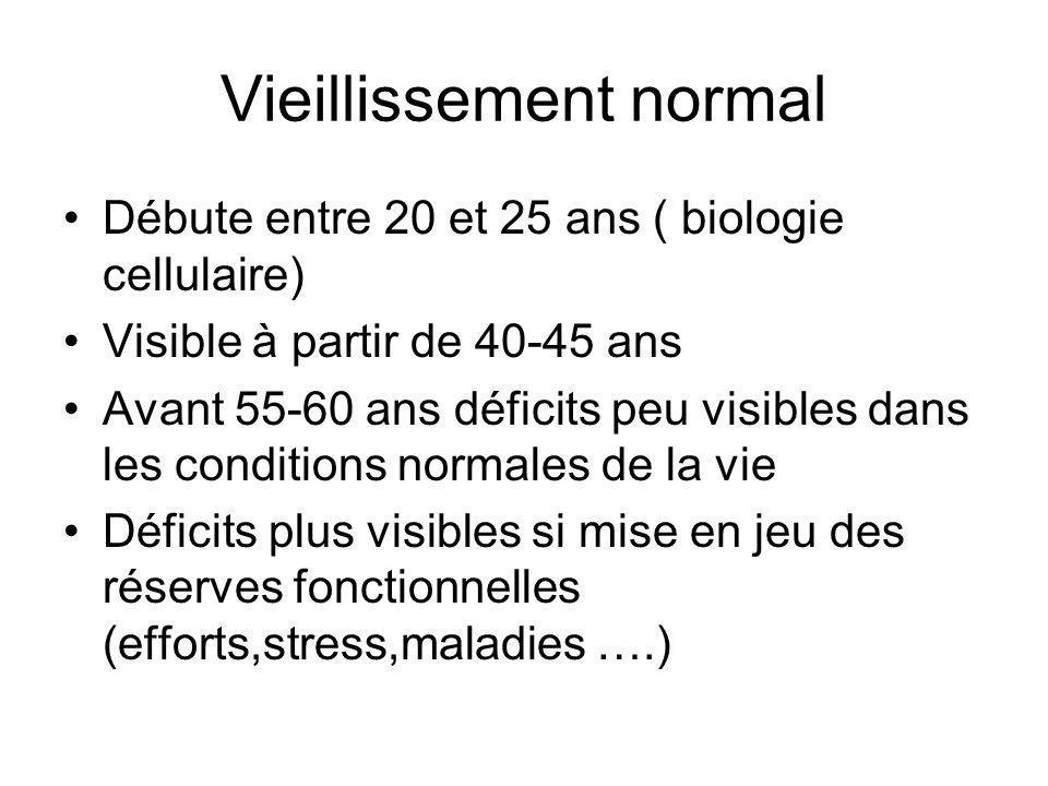 Vieillissement normal Débute entre 20 et 25 ans ( biologie cellulaire) Visible à partir de 40-45 ans Avant 55-60 ans déficits peu visibles dans les co