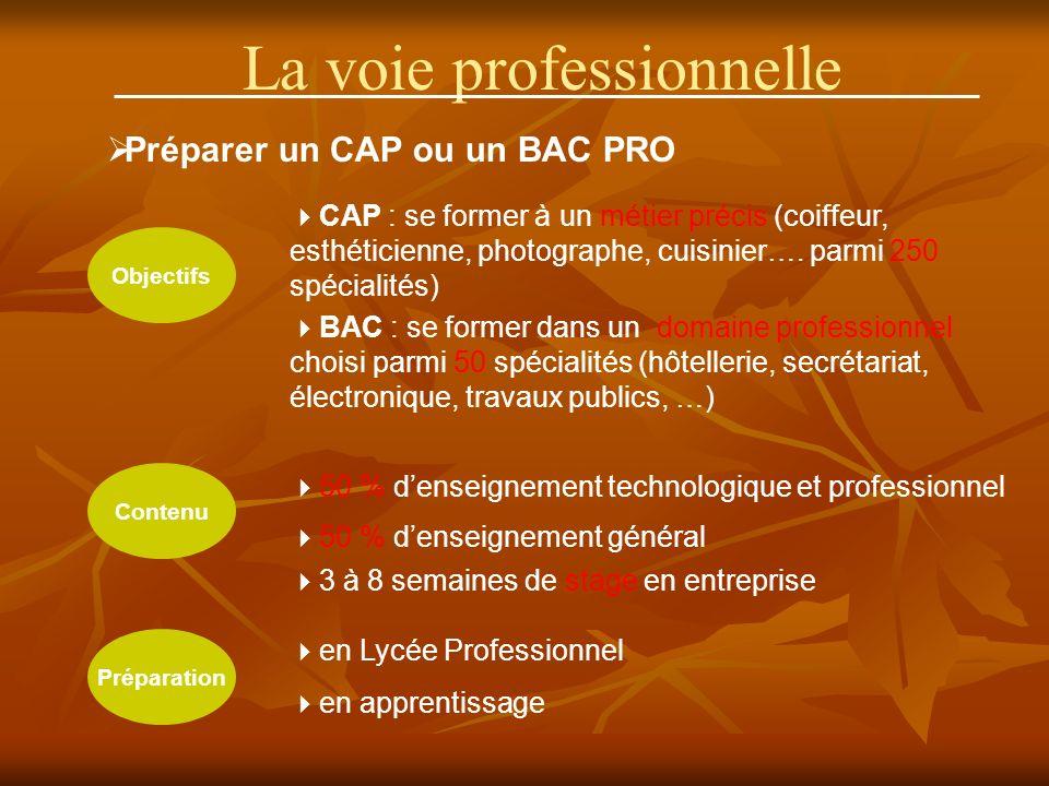 La voie professionnelle Préparer un CAP ou un BAC PRO Objectifs Contenu Préparation CAP : se former à un métier précis (coiffeur, esthéticienne, photographe, cuisinier….