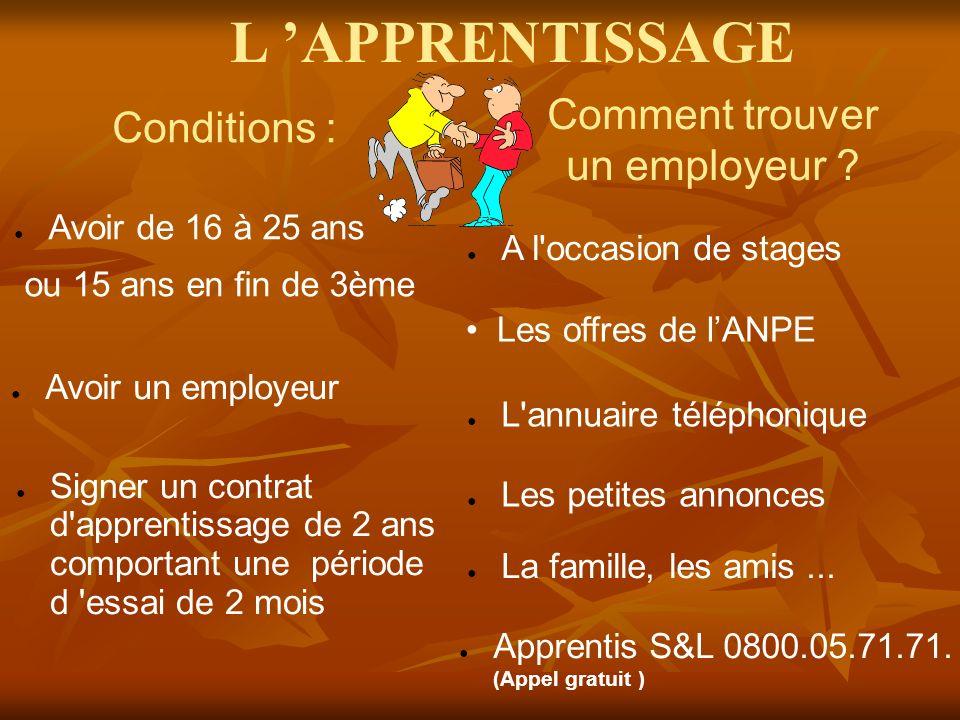 Conditions : Avoir de 16 à 25 ans ou 15 ans en fin de 3ème Avoir un employeur Signer un contrat d apprentissage de 2 ans comportant une période d essai de 2 mois Comment trouver un employeur .