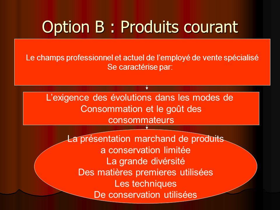 Option B : Produits courant Le champs professionnel et actuel de lemployé de vente spécialisé Se caractérise par: Lexigence des évolutions dans les mo