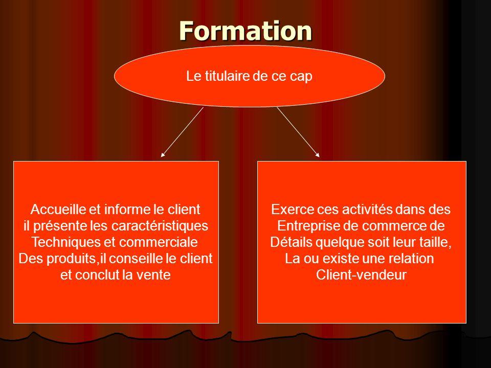 Formation Le titulaire de ce cap Accueille et informe le client il présente les caractéristiques Techniques et commerciale Des produits,il conseille l