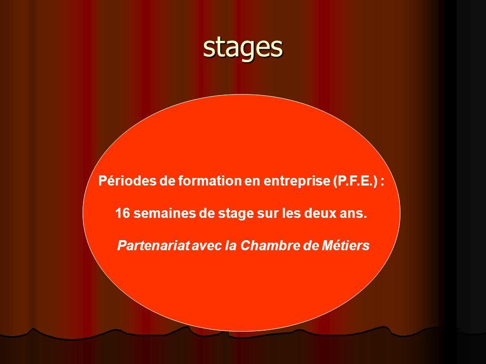 stages Périodes de formation en entreprise (P.F.E.) : 16 semaines de stage sur les deux ans. Partenariat avec la Chambre de Métiers