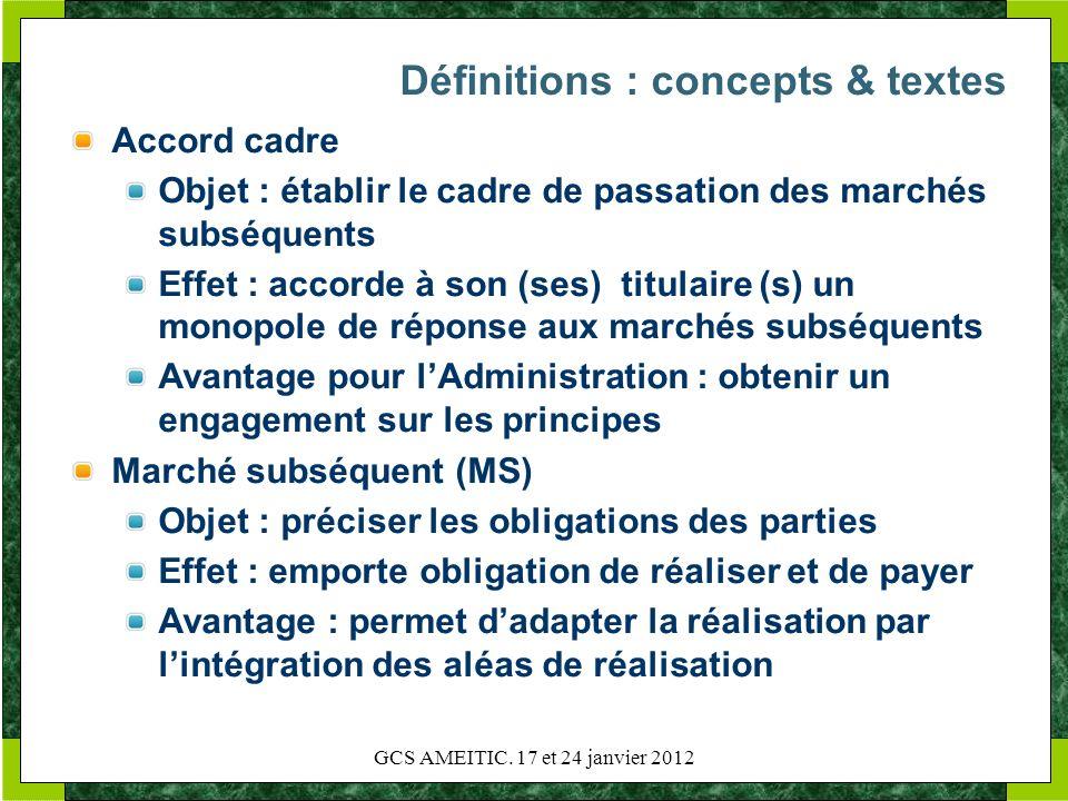 Définitions : concepts & textes Accord cadre Objet : établir le cadre de passation des marchés subséquents Effet : accorde à son (ses) titulaire (s) u