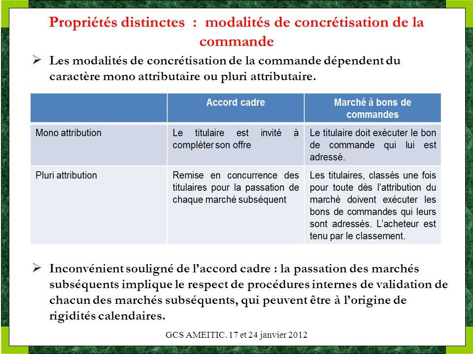 Propriétés distinctes : modalités de concrétisation de la commande Les modalités de concrétisation de la commande dépendent du caractère mono attribut