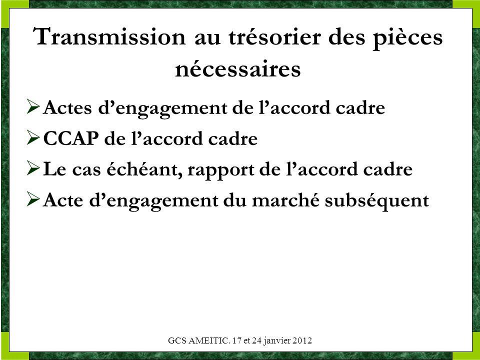 Transmission au trésorier des pièces nécessaires Actes dengagement de laccord cadre CCAP de laccord cadre Le cas échéant, rapport de laccord cadre Act