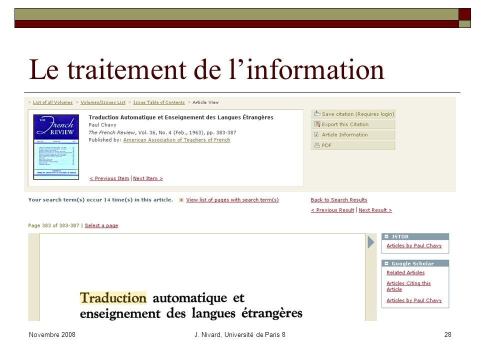 Le traitement de linformation Novembre 2008J. Nivard, Université de Paris 828