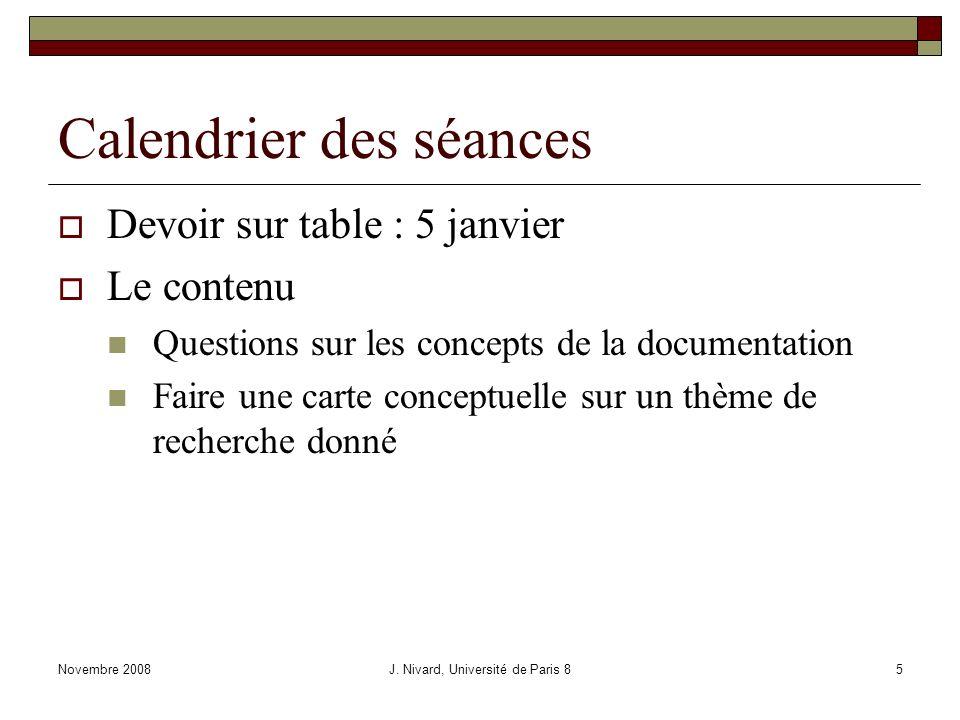 Le traitement de linformation Novembre 2008J. Nivard, Université de Paris 826