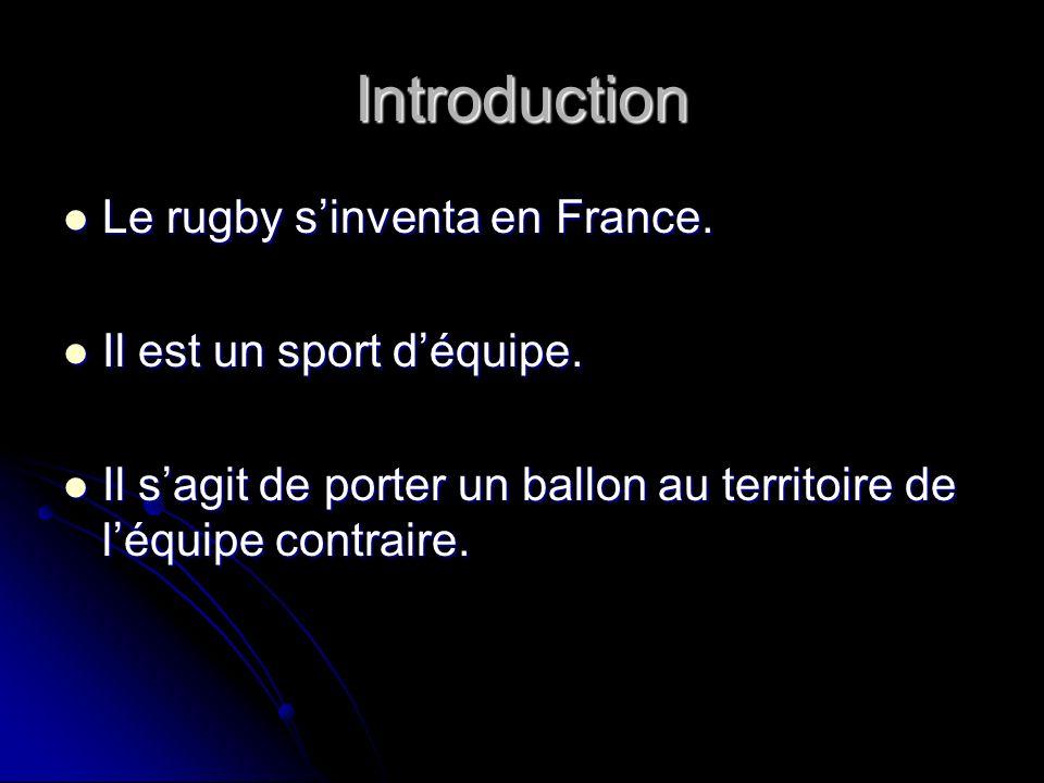 Introduction Le rugby sinventa en France. Le rugby sinventa en France. Il est un sport déquipe. Il est un sport déquipe. Il sagit de porter un ballon