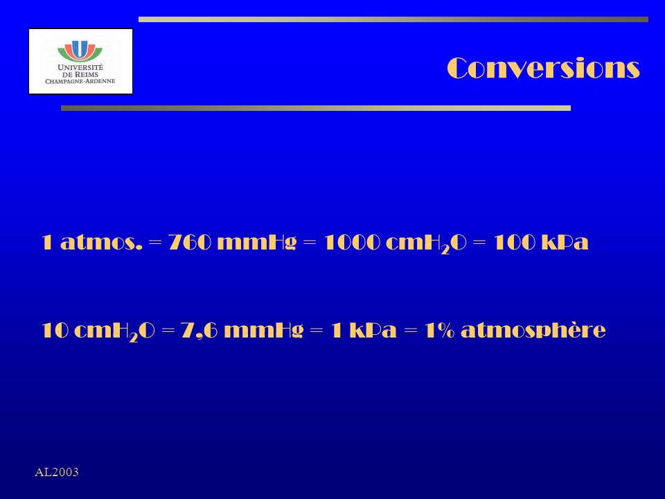 AL2003 Conversions 1 atmos. = 760 mmHg = 1000 cmH 2 O = 100 kPa 10 cmH 2 O = 7,6 mmHg = 1 kPa = 1% atmosphère