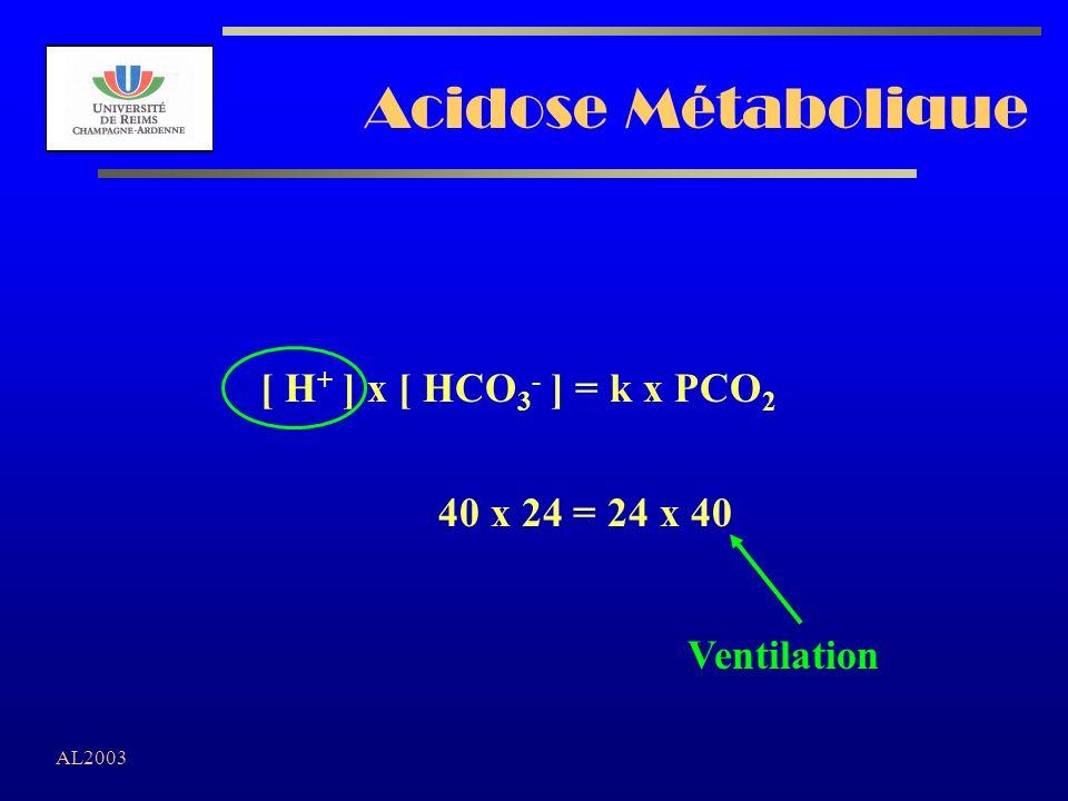 AL2003 Acidose Métabolique [ H + ] x [ HCO 3 - ] = k x PCO 2 40 x 24 = 24 x 40 Ventilation