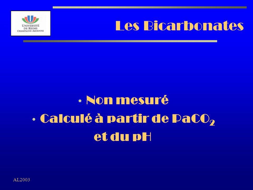AL2003 Les Bicarbonates Non mesuré Calculé à partir de PaCO 2 et du pH