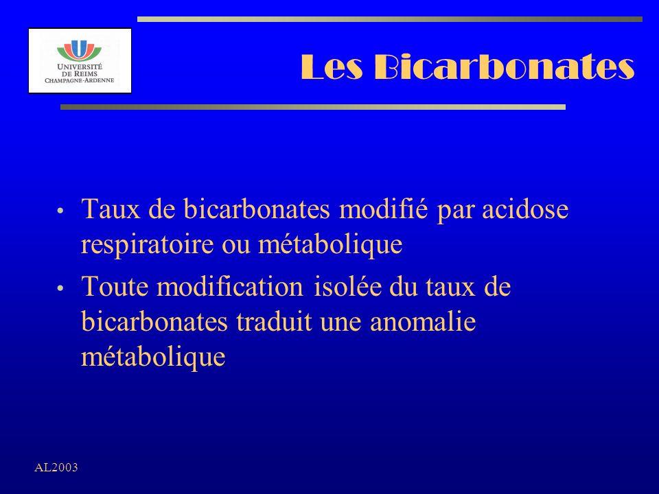 AL2003 Les Bicarbonates Taux de bicarbonates modifié par acidose respiratoire ou métabolique Toute modification isolée du taux de bicarbonates traduit