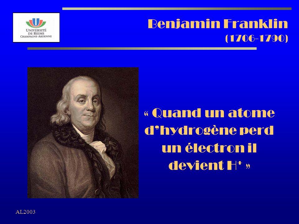 AL2003 Benjamin Franklin (1706-1790) « Quand un atome dhydrogène perd un électron il devient H + »