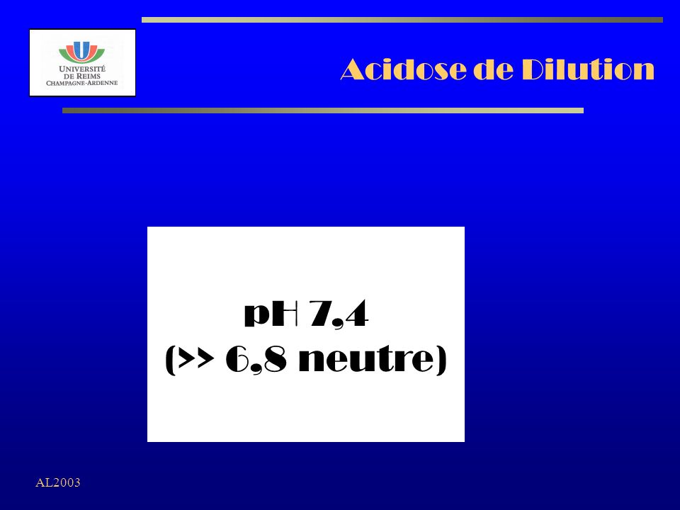 AL2003 Acidose de Dilution pH 7,4 (>> 6,8 neutre)