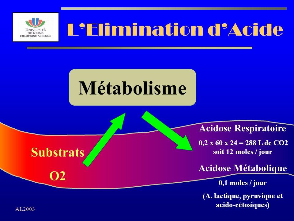 AL2003 LElimination dAcide Substrats O2 Acidose Respiratoire 0,2 x 60 x 24 = 288 L de CO2 soit 12 moles / jour Acidose Métabolique 0,1 moles / jour (A