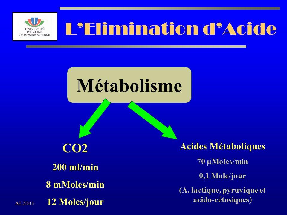 AL2003 LElimination dAcide CO2 200 ml/min 8 mMoles/min 12 Moles/jour Acides Métaboliques 70 µMoles/min 0,1 Mole/jour (A. lactique, pyruvique et acido-
