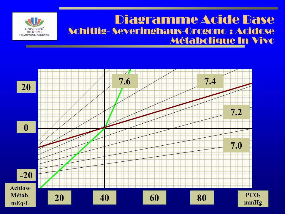 AL2003 Diagramme Acide Base Schitlig- Severinghaus-Grogono : Acidose Métabolique In-Vivo 7.2 7.0 7.47.6 20 0 -20 Acidose Métab.