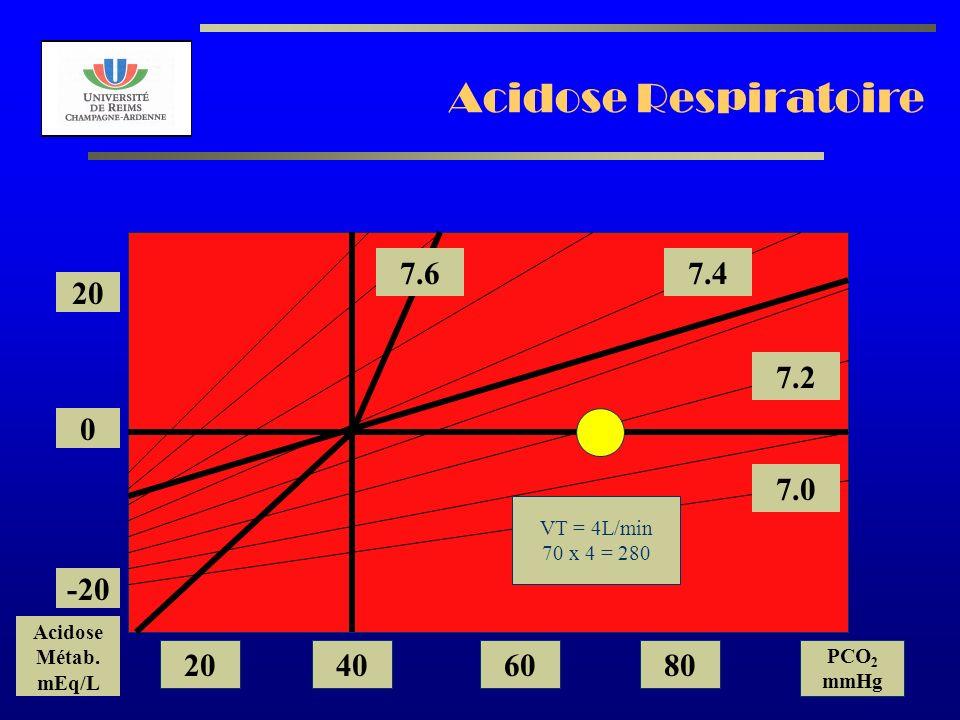 AL2003 Acidose Respiratoire 7.2 7.0 7.47.6 20 0 -20 Acidose Métab. mEq/L 20406080 PCO 2 mmHg VT = 4L/min 70 x 4 = 280