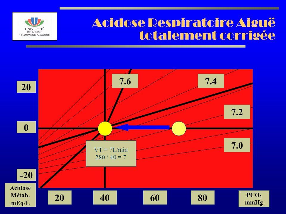 AL2003 Acidose Respiratoire Aiguë totalement corrigée 7.2 7.0 7.47.6 20 0 -20 Acidose Métab. mEq/L 20406080 PCO 2 mmHg VT = 7L/min 280 / 40 = 7