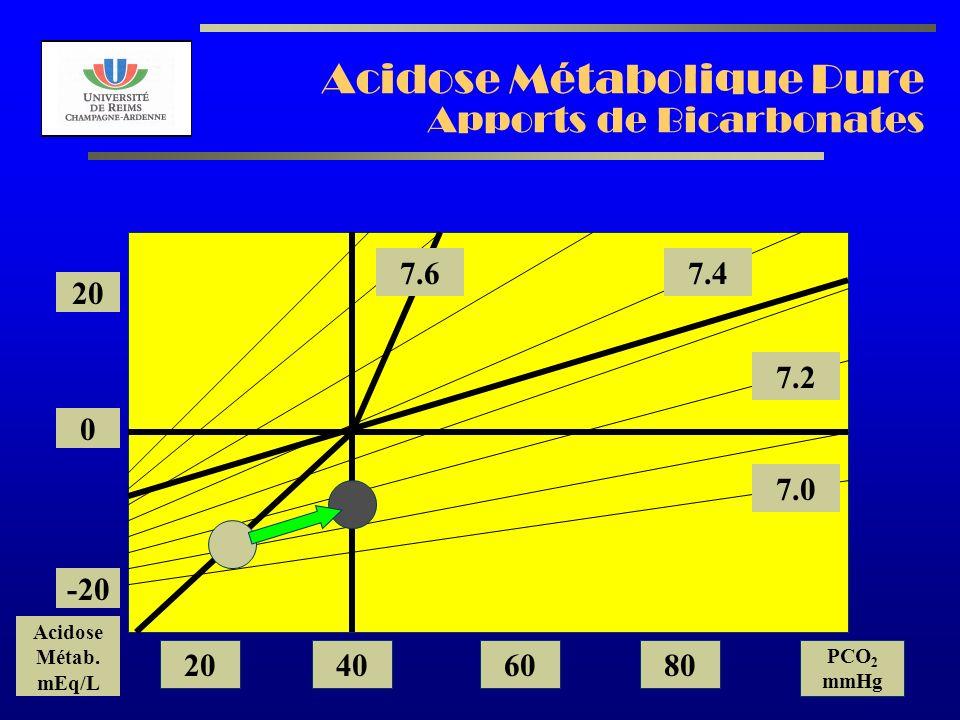 AL2003 Acidose Métabolique Pure Apports de Bicarbonates 7.2 7.0 7.47.6 20 0 -20 Acidose Métab. mEq/L 20406080 PCO 2 mmHg