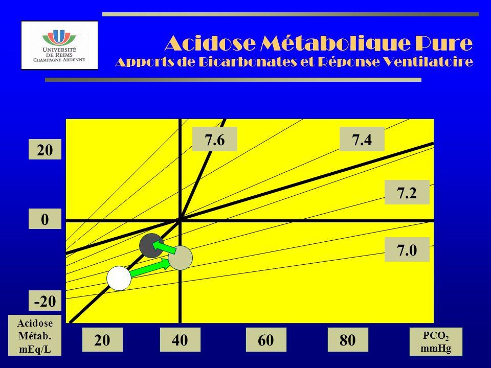 AL2003 Acidose Métabolique Pure Apports de Bicarbonates et Réponse Ventilatoire 7.2 7.0 7.47.6 20 0 -20 Acidose Métab. mEq/L 20406080 PCO 2 mmHg