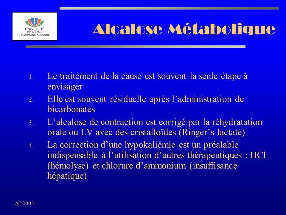 AL2003 Alcalose Métabolique 1. Le traitement de la cause est souvent la seule étape à envisager 2. Elle est souvent résiduelle après ladministration d