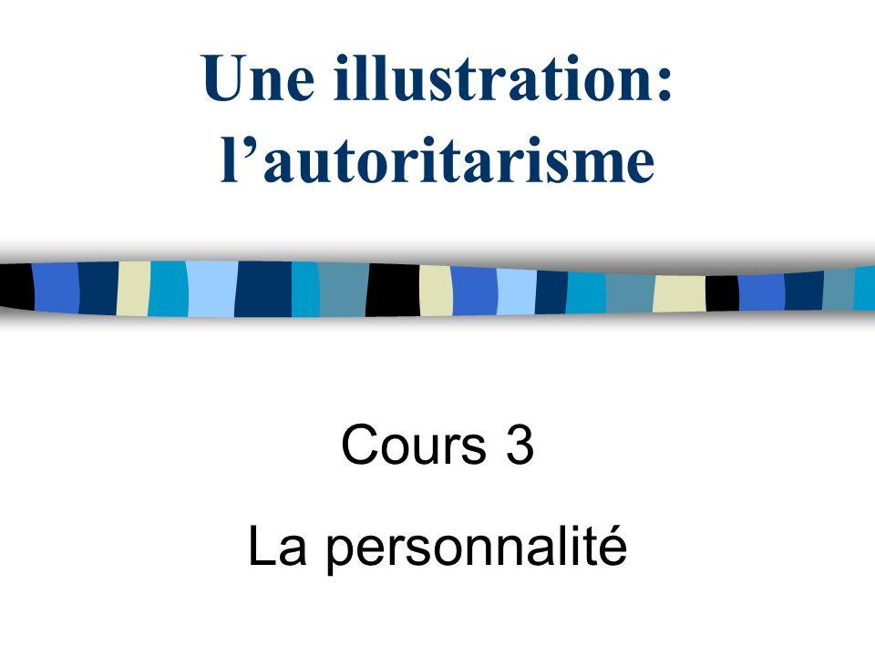 Une illustration: lautoritarisme Cours 3 La personnalité