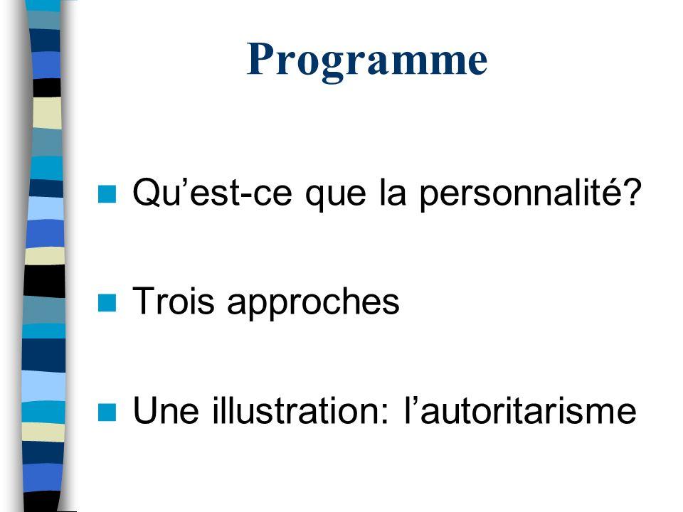 Programme Quest-ce que la personnalité Trois approches Une illustration: lautoritarisme