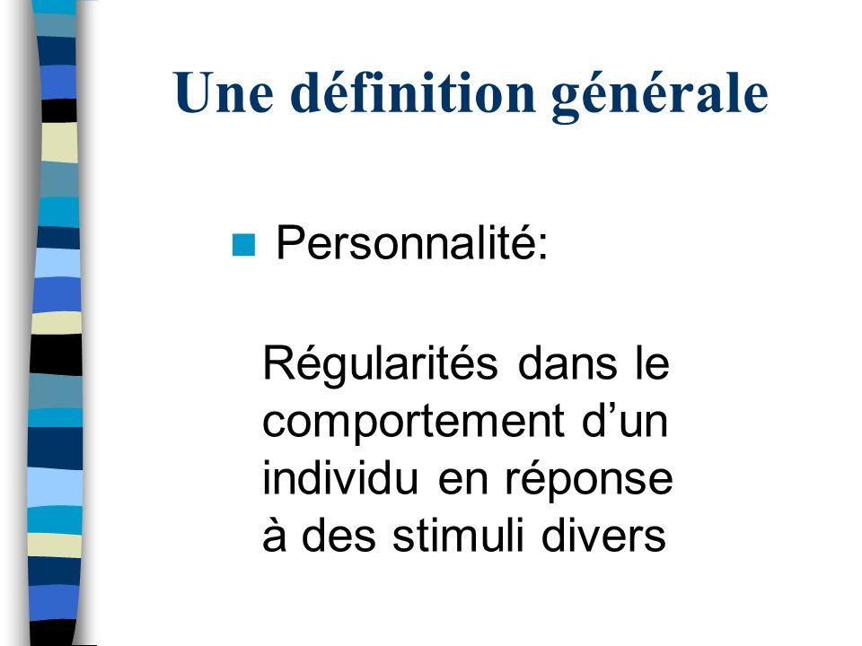 La personnalité Unique à chaque personne Relativement stable Influence comportements et pensées