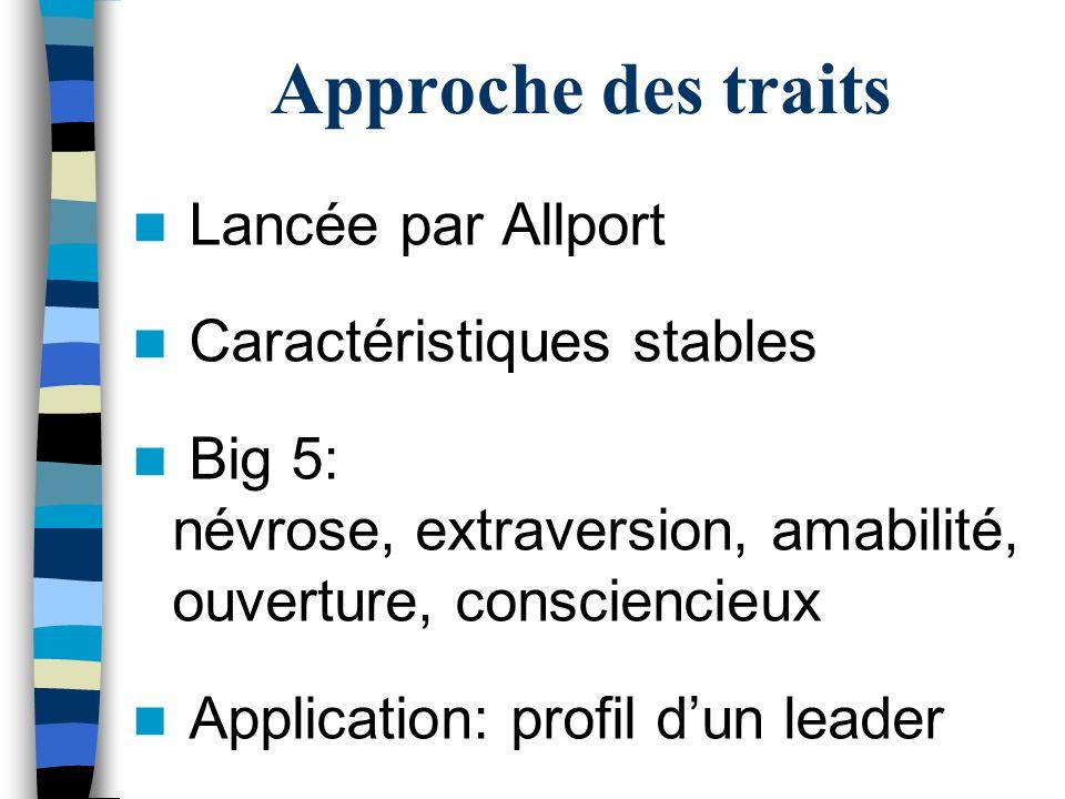 Approche des traits Lancée par Allport Caractéristiques stables Big 5: névrose, extraversion, amabilité, ouverture, consciencieux Application: profil dun leader