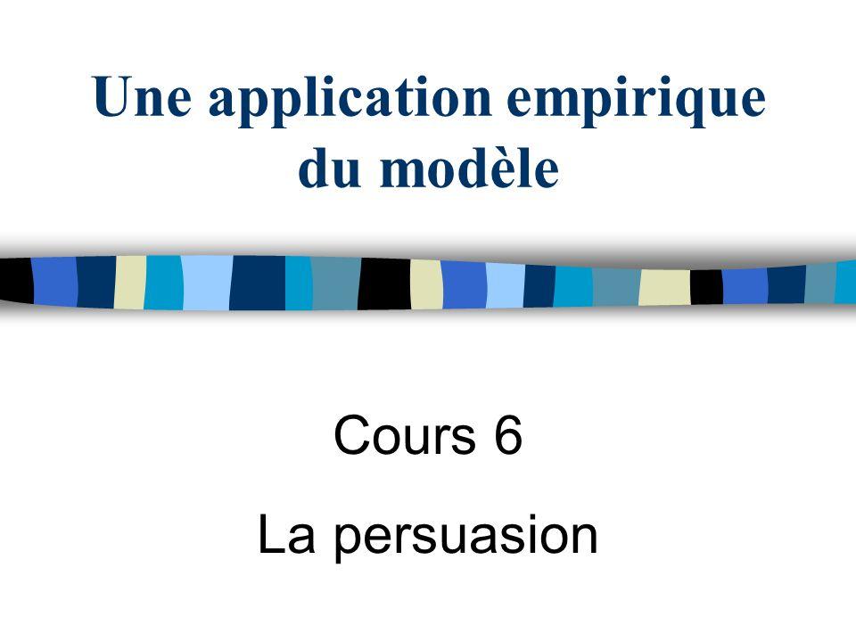 Une application empirique du modèle Cours 6 La persuasion