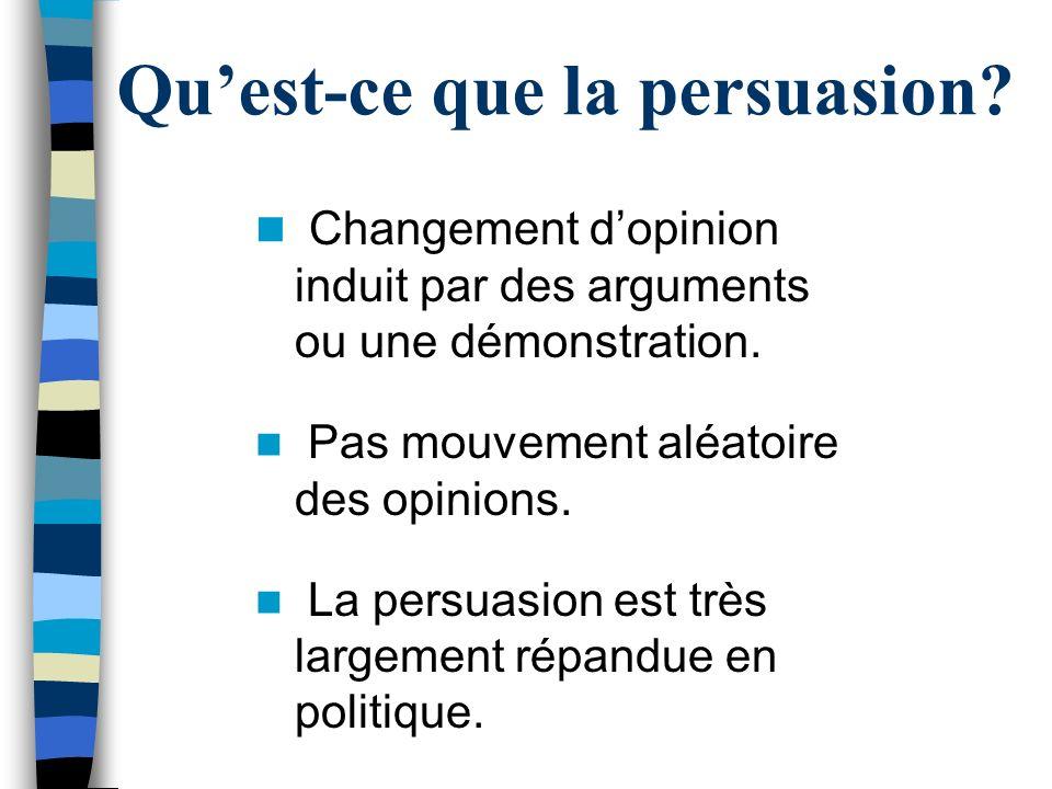 Quest-ce que la persuasion? Changement dopinion induit par des arguments ou une démonstration. Pas mouvement aléatoire des opinions. La persuasion est