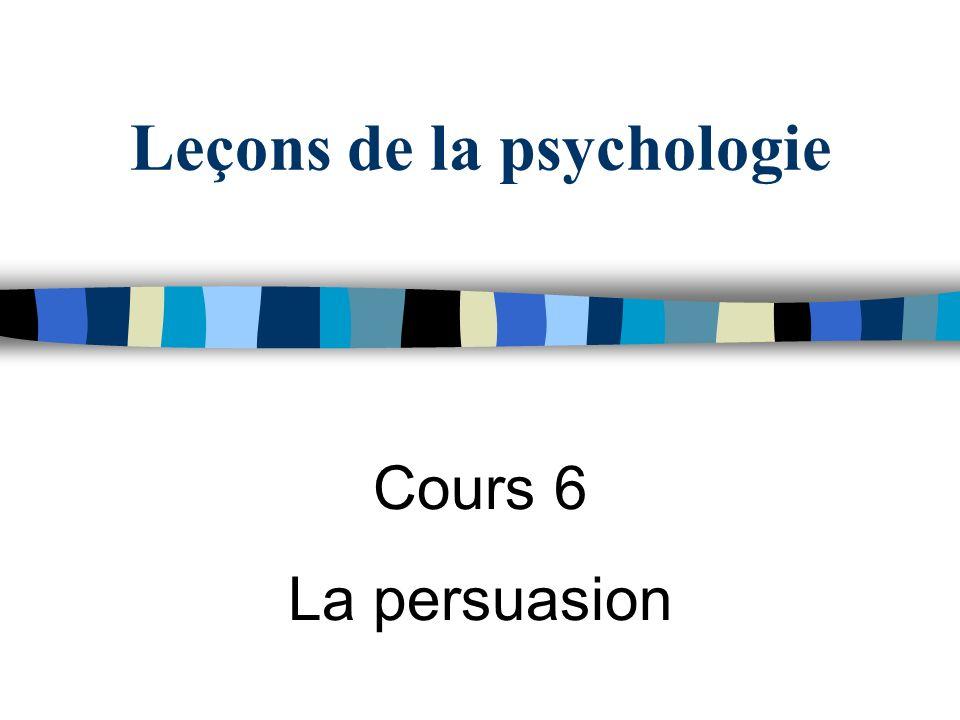 Leçons de la psychologie Cours 6 La persuasion