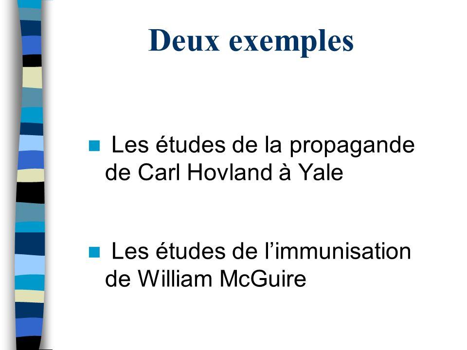 Deux exemples Les études de la propagande de Carl Hovland à Yale Les études de limmunisation de William McGuire