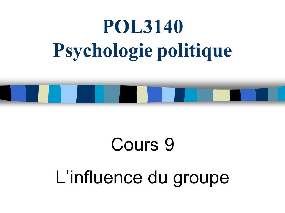 POL3140 Psychologie politique Cours 9 Linfluence du groupe