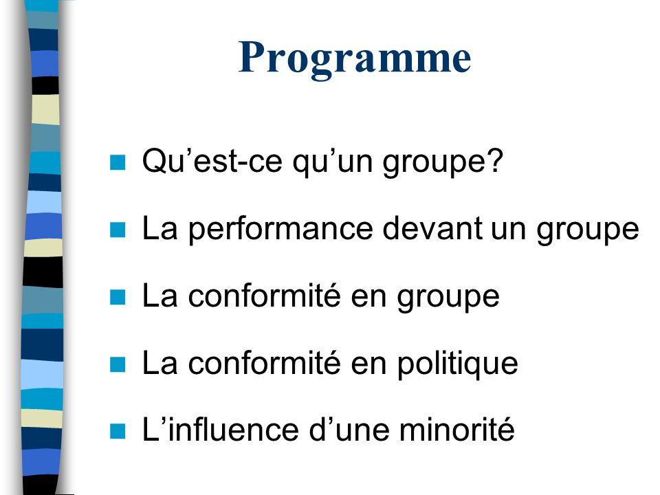 Programme Quest-ce quun groupe? La performance devant un groupe La conformité en groupe La conformité en politique Linfluence dune minorité