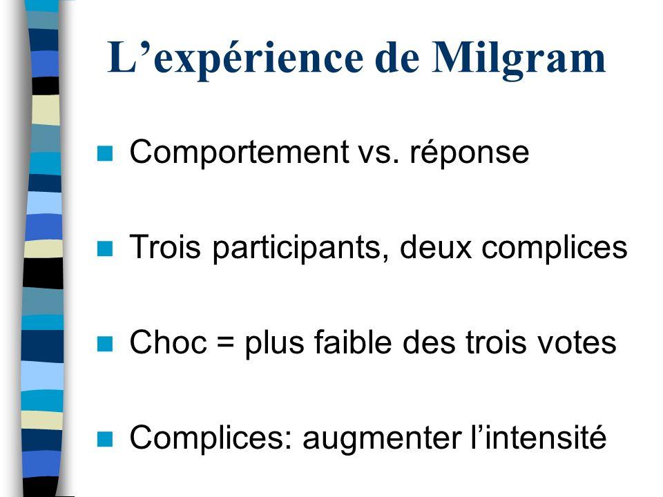 Lexpérience de Milgram Comportement vs. réponse Trois participants, deux complices Choc = plus faible des trois votes Complices: augmenter lintensité