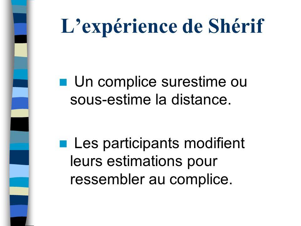 Lexpérience de Shérif Un complice surestime ou sous-estime la distance. Les participants modifient leurs estimations pour ressembler au complice.