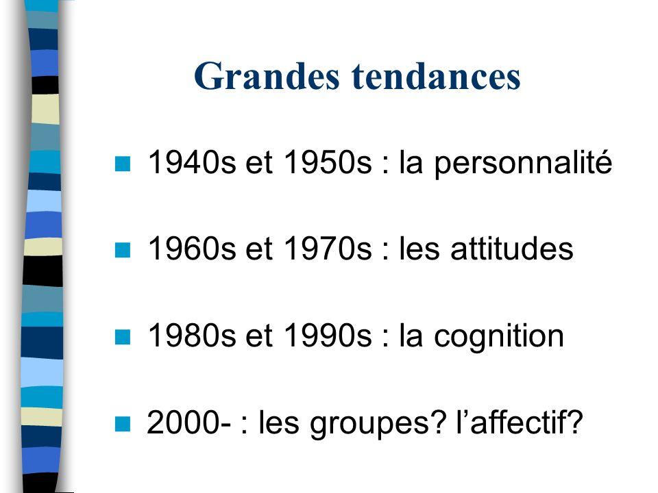 Grandes tendances 1940s et 1950s : la personnalité 1960s et 1970s : les attitudes 1980s et 1990s : la cognition 2000- : les groupes? laffectif?