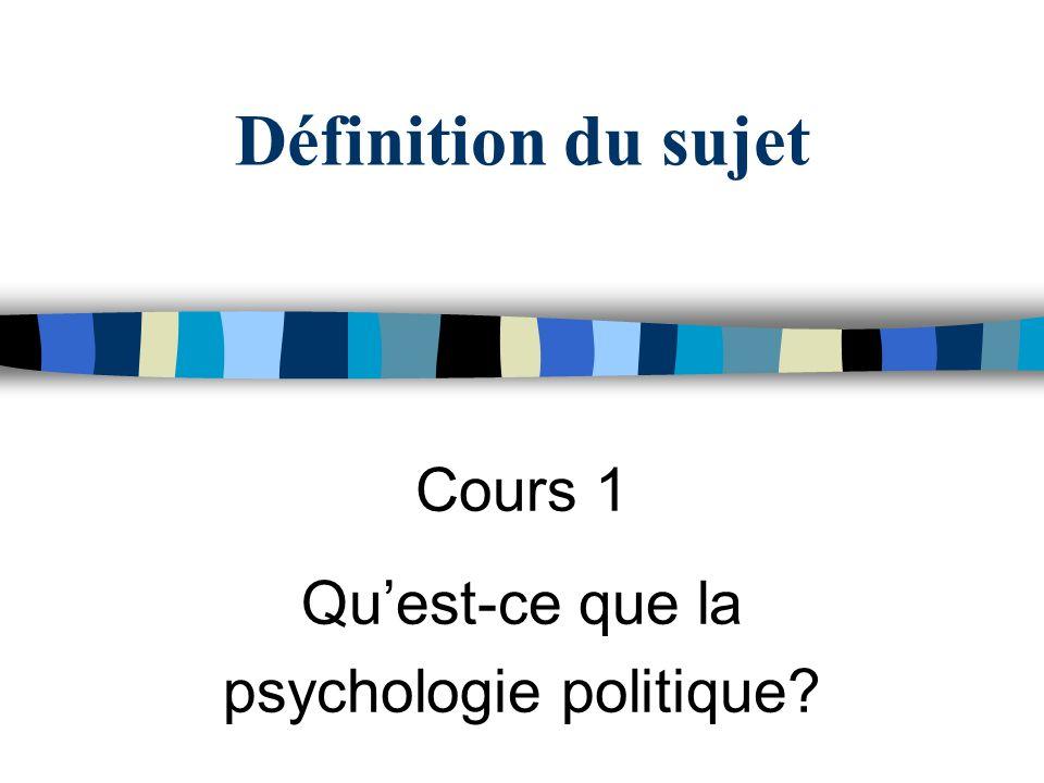 Définition du sujet Cours 1 Quest-ce que la psychologie politique?