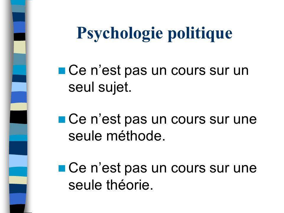 Psychologie politique Linteraction entre les processus psychologiques et les processus politiques: –linfluence des processus psychologiques sur les processus politiques –linfluence des processus politiques sur les processus psychologiques