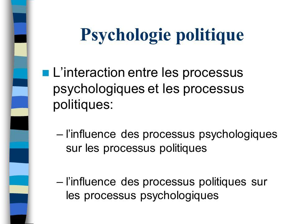 Psychologie politique Linteraction entre les processus psychologiques et les processus politiques: –linfluence des processus psychologiques sur les pr