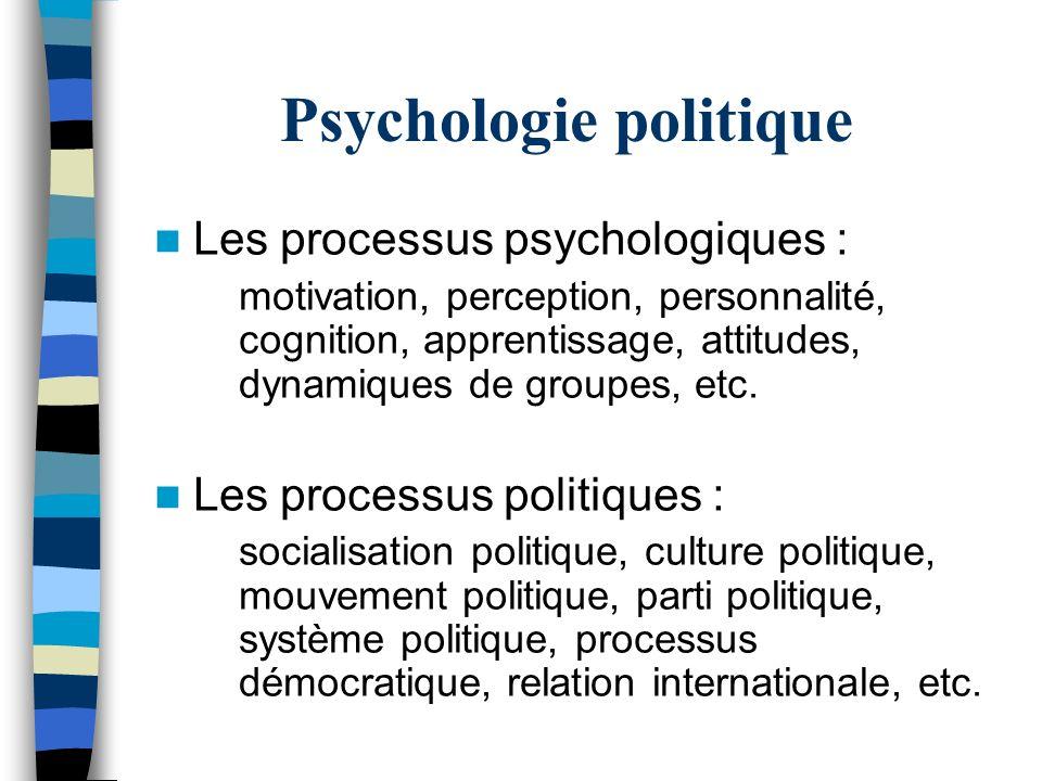 Psychologie politique Les processus psychologiques : motivation, perception, personnalité, cognition, apprentissage, attitudes, dynamiques de groupes,