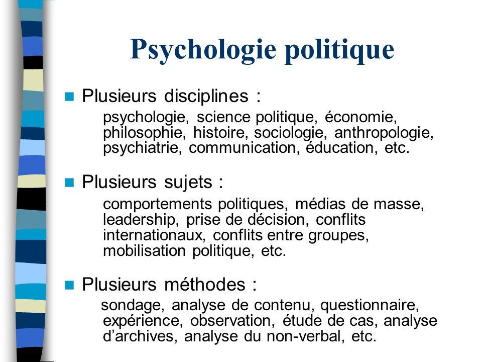 Psychologie politique Plusieurs disciplines : psychologie, science politique, économie, philosophie, histoire, sociologie, anthropologie, psychiatrie,