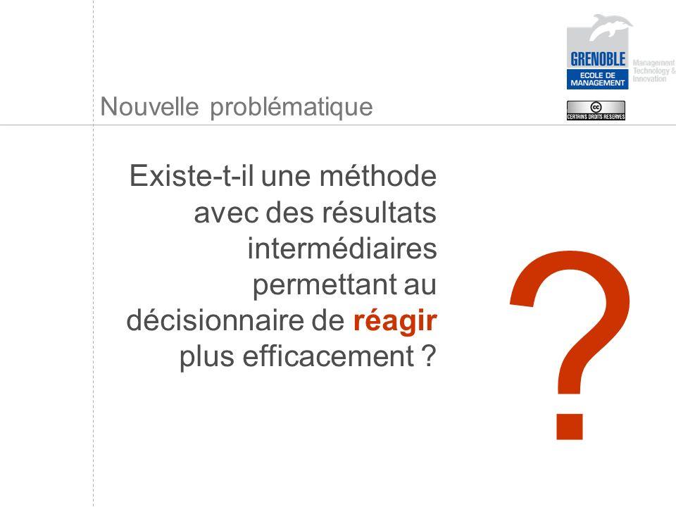 Nouvelle problématique Existe-t-il une méthode avec des résultats intermédiaires permettant au décisionnaire de réagir plus efficacement ? ?