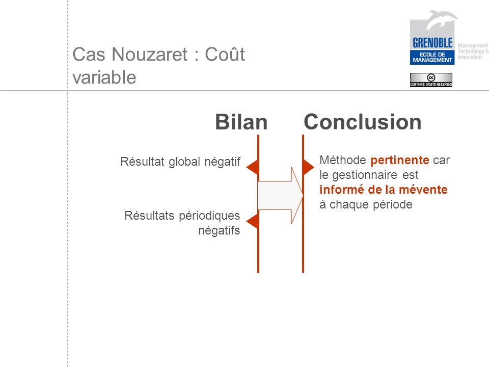 Cas Nouzaret : Coût variable Résultat global négatif Bilan Résultats périodiques négatifs Conclusion Méthode pertinente car le gestionnaire est inform
