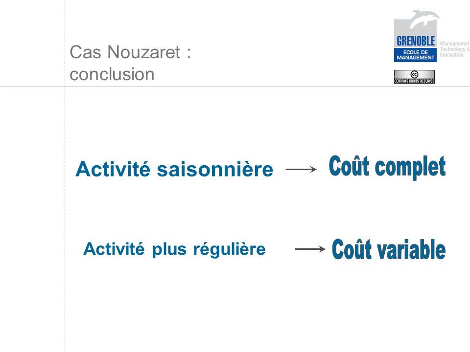 Cas Nouzaret : conclusion Activité saisonnière Activité plus régulière