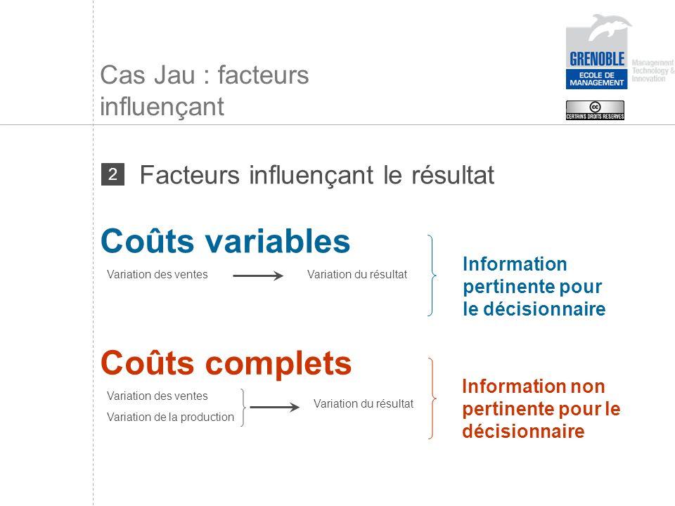 Cas Jau : facteurs influençant Coûts variables Variation des ventesVariation du résultat Information non pertinente pour le décisionnaire Information