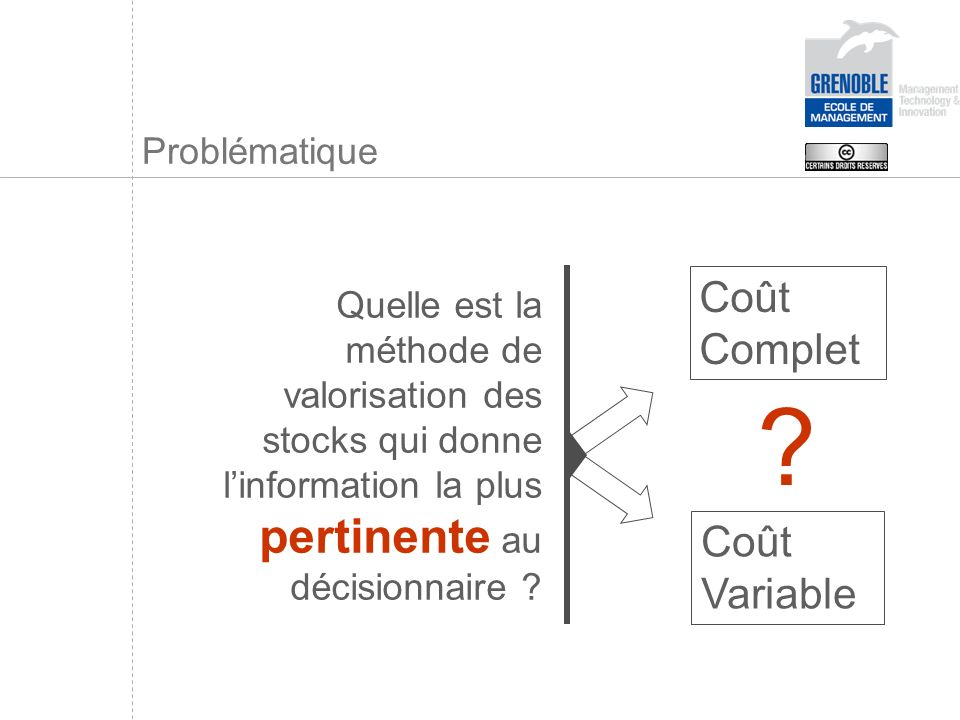 Problématique Quelle est la méthode de valorisation des stocks qui donne linformation la plus pertinente au décisionnaire ? Coût Variable Coût Complet