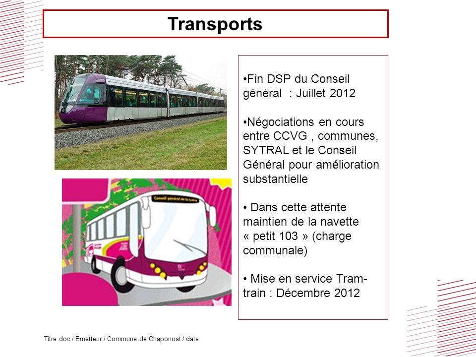 Titre doc / Emetteur / Commune de Chaponost / date Transports Fin DSP du Conseil général : Juillet 2012 Négociations en cours entre CCVG, communes, SY